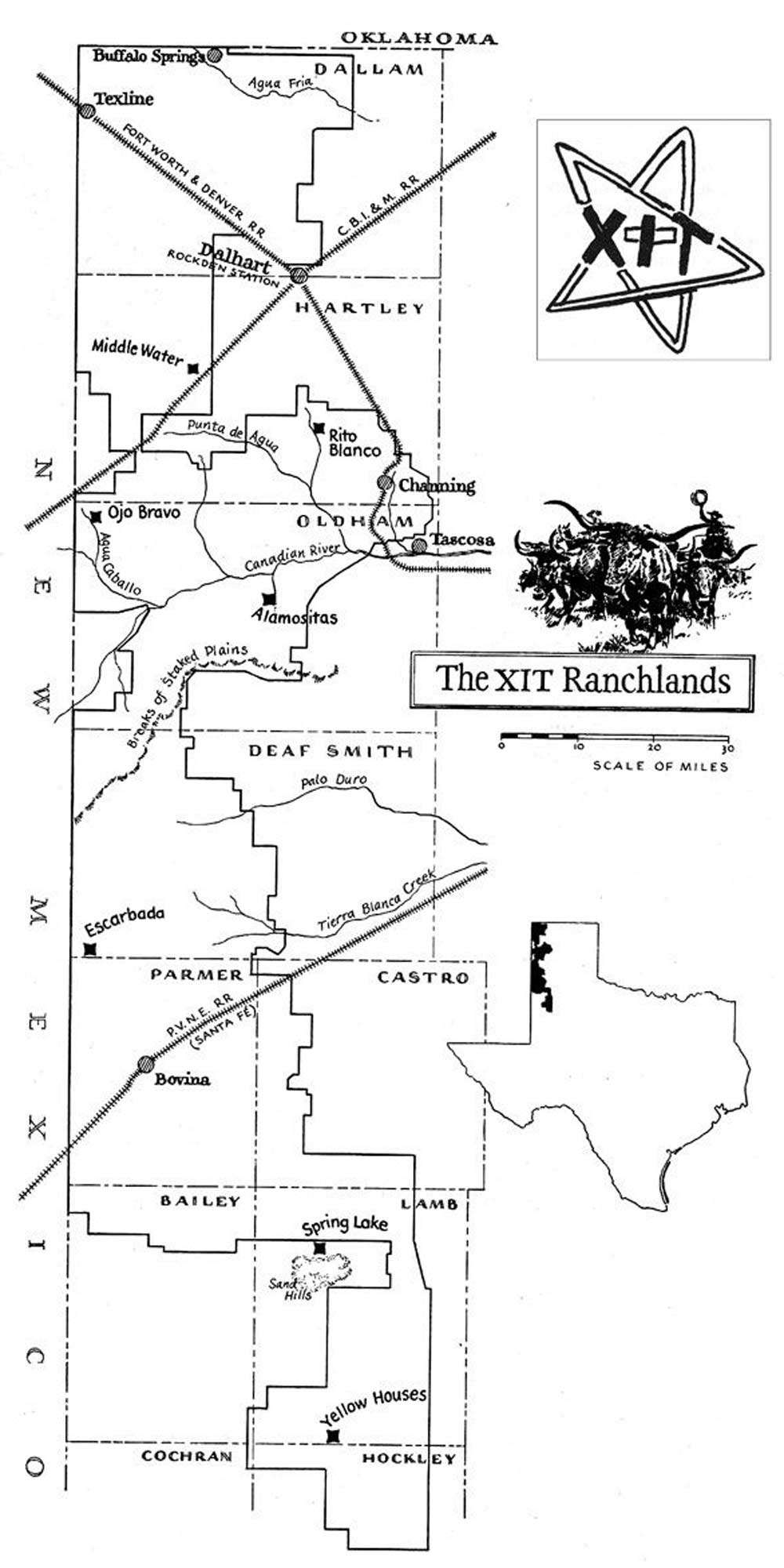 Map of XIT Ranch